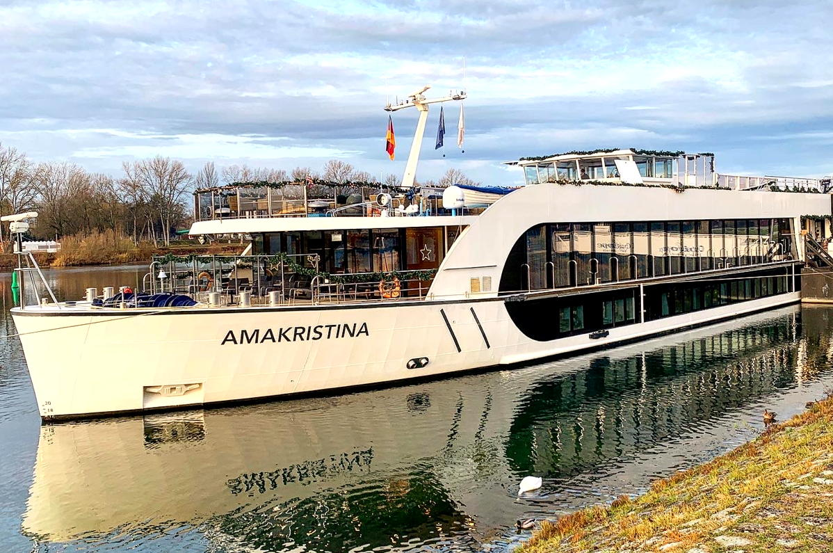 The luxurious AmaKristina. AmaWaterways' 156-passenger river ship, seen here in Breisach.