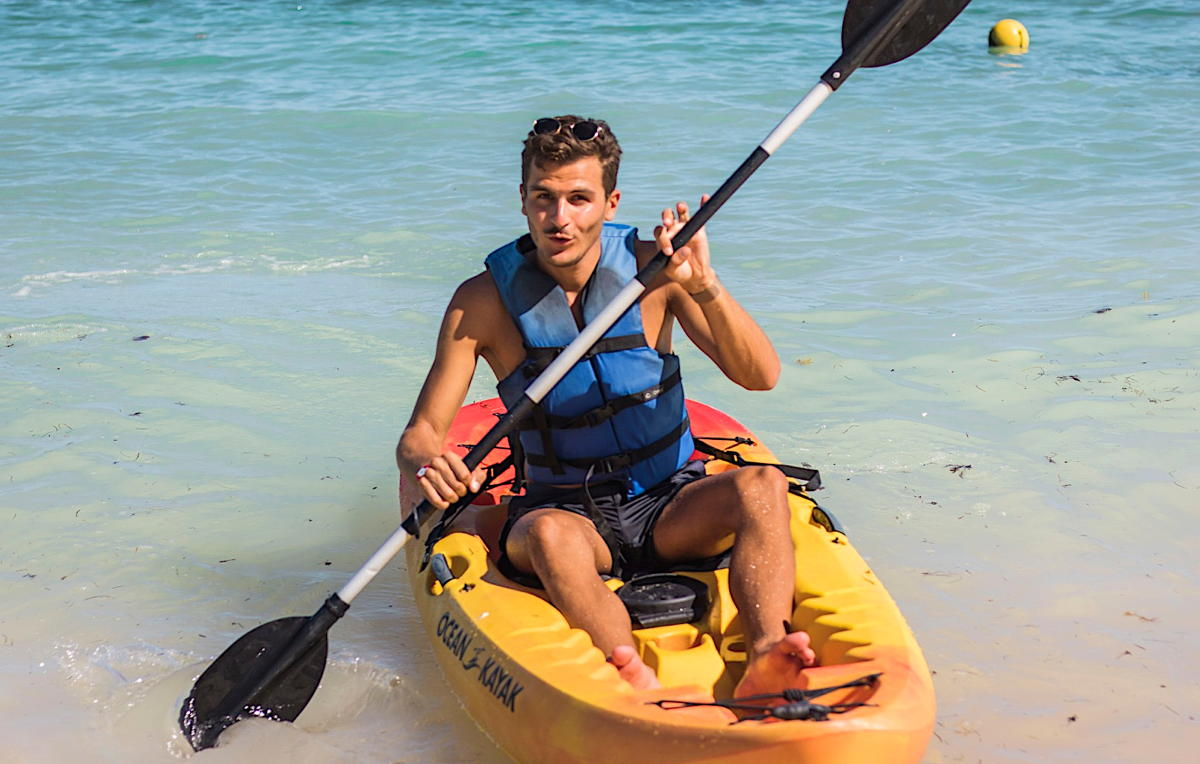 Martin enjoys some kayaking in the ocean at Club Med Punta Cana. (Supplied)
