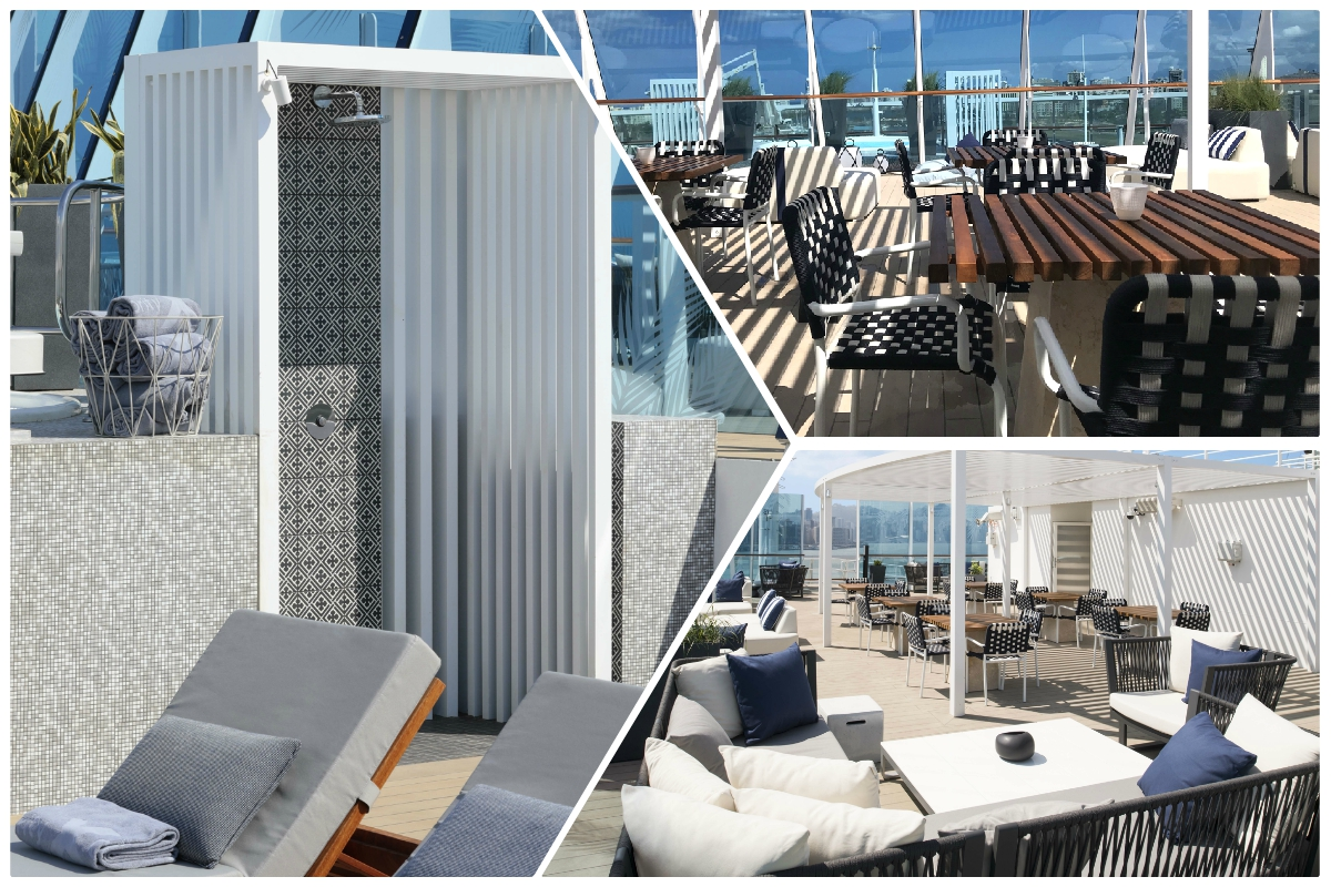 RELAX. A look at Celebrity Summit's new Retreat Sundeck for suite guests. It was also designed by Kelly Hoppen.