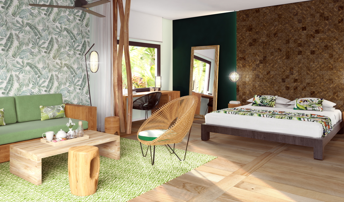 COMING SOON. A rendering of the Emerald Jungle Bedroom at Club Med Michès Playa Esmeralda, opening this December in Dominican Republic. Photo: Club Med