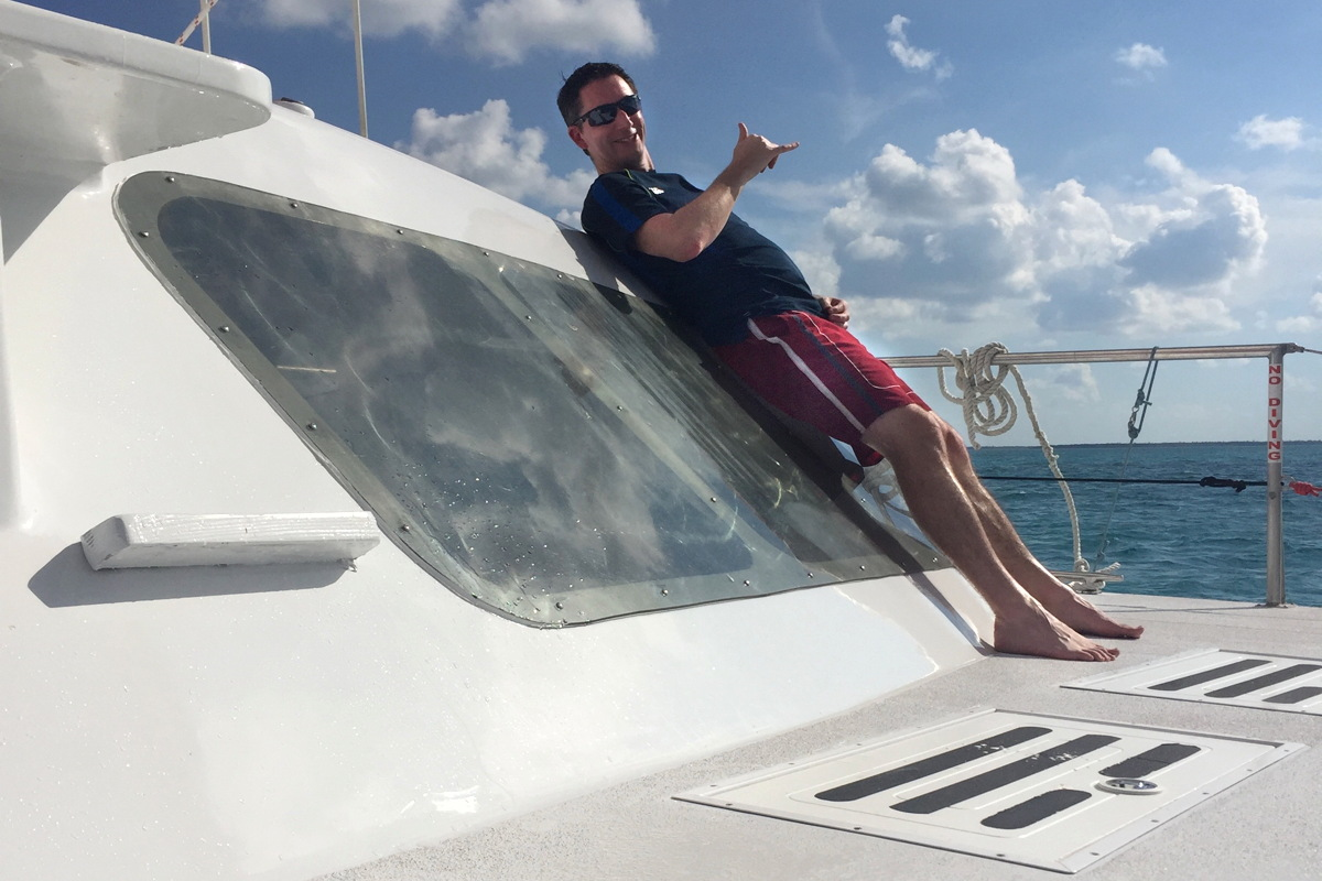 """The Cayman Islands is very accessible with up to five flights a week this fall and increasing to eight flights a week in the winter,"" says Mathias, seen here enjoying a trip to Stingray City in the Cayman Islands (Supplied)."