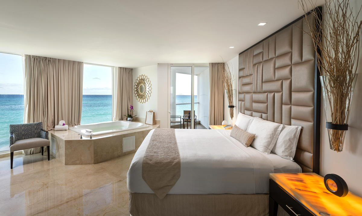 ROOM WITH A VIEW. Inside the Governor Suite at Playacar Palace. Photo: Palace Resorts