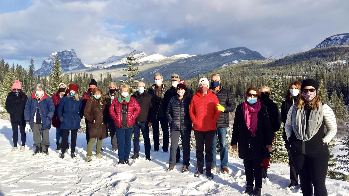 From Calgary, Globus & 19 guests escaped to the pristine wilds of Banff National Park. Here's a group photo at Castle Mountain. (Supplied).