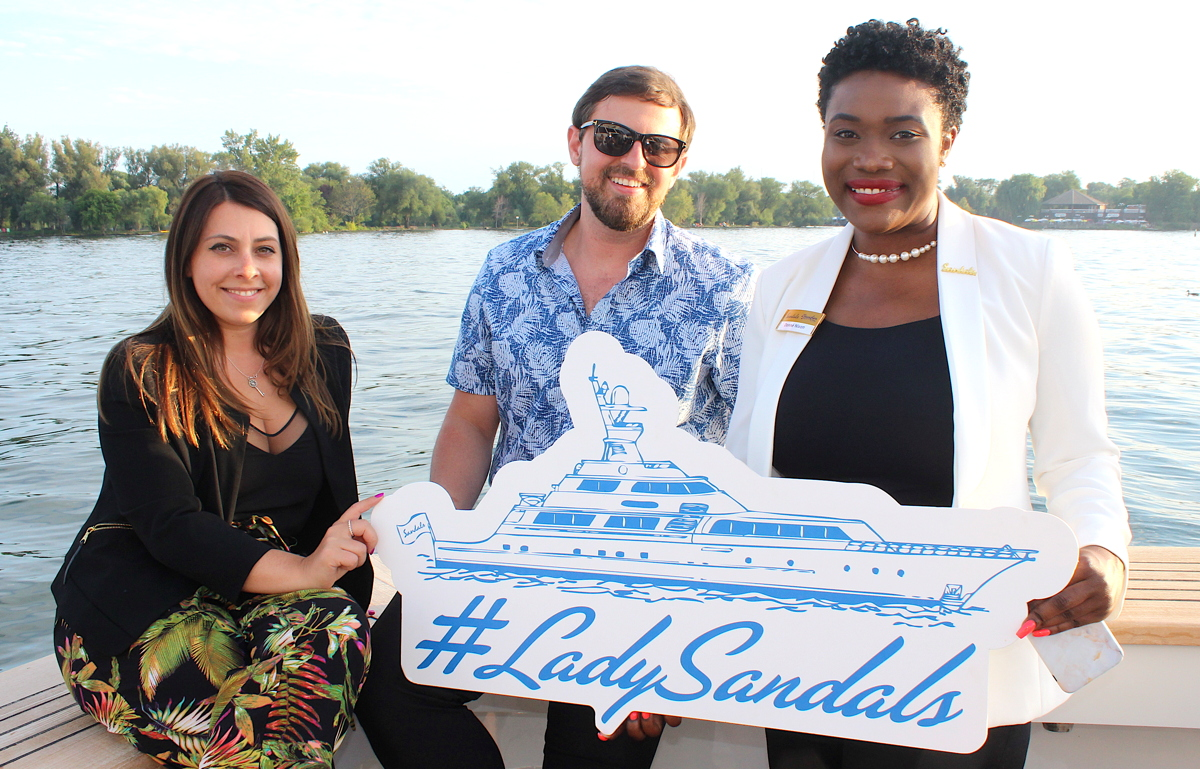 Now Destinations' Amanda Katchutas (left) and Michael James Babiak with Sandals BDM Donné Nixon.