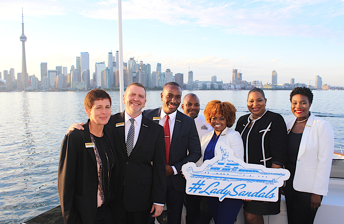 From left: Tonya Hawryluk, director, group business; Grant Lawlor, national groups manager; CJ Smith, senior regional sales manager; Chef Glenroy Walker, group senior executive chef; Giselle Williams, BDM, Toronto & Ottawa; Maureen Barnes-Smith, director of sales & marketing; BDM, Donné Nixon, Alberta & NWT.