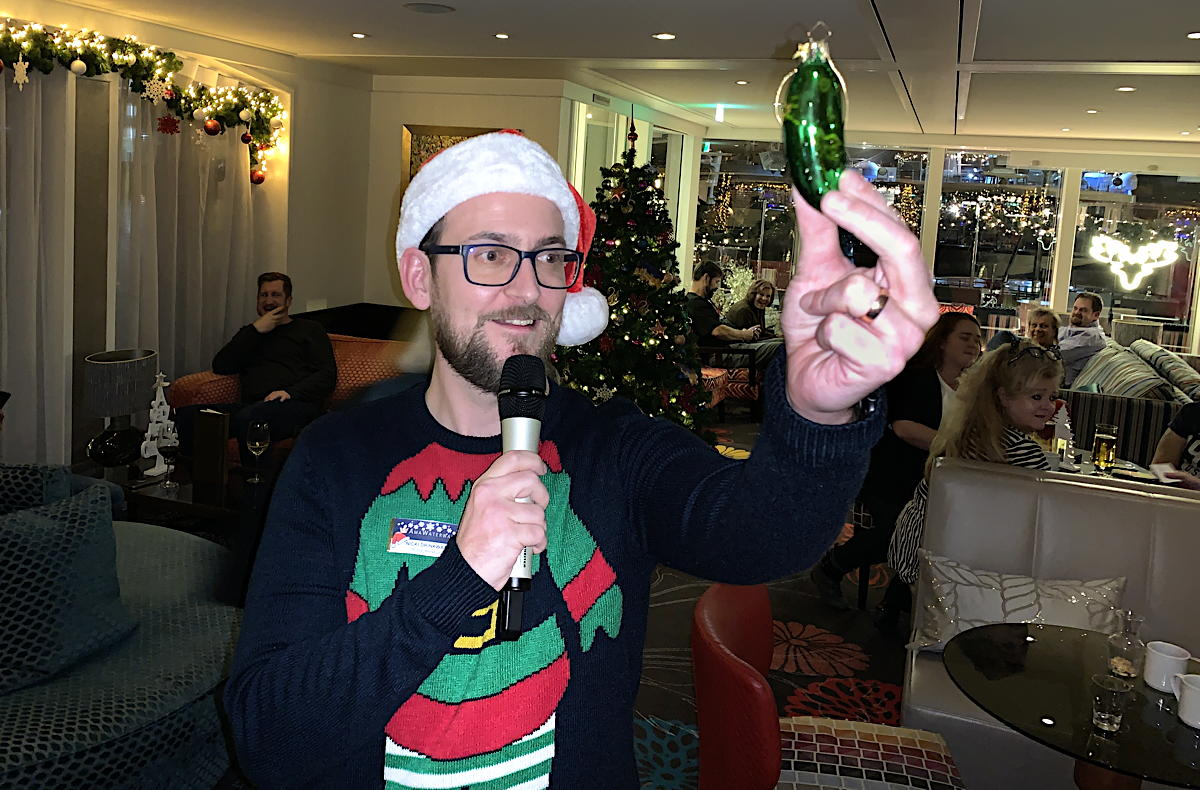 CASE CLOSED. AmaWaterways cruise manager, Nicki Drinkwater, reveals the ship's Christmas pickle.