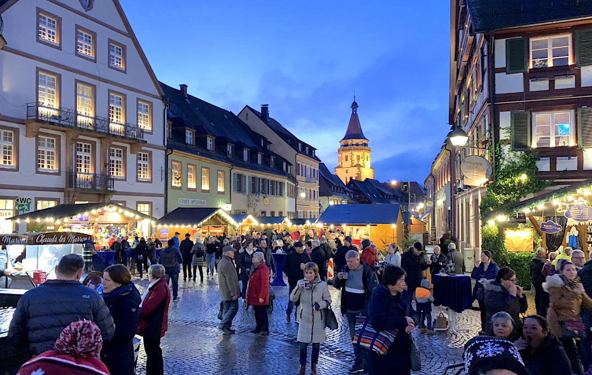 CHRISTMAS CENTRAL. Guests of AmaWaterways can explore Christmas Markets along the Rhine, such as this one in Gengenbach, Germany, above.