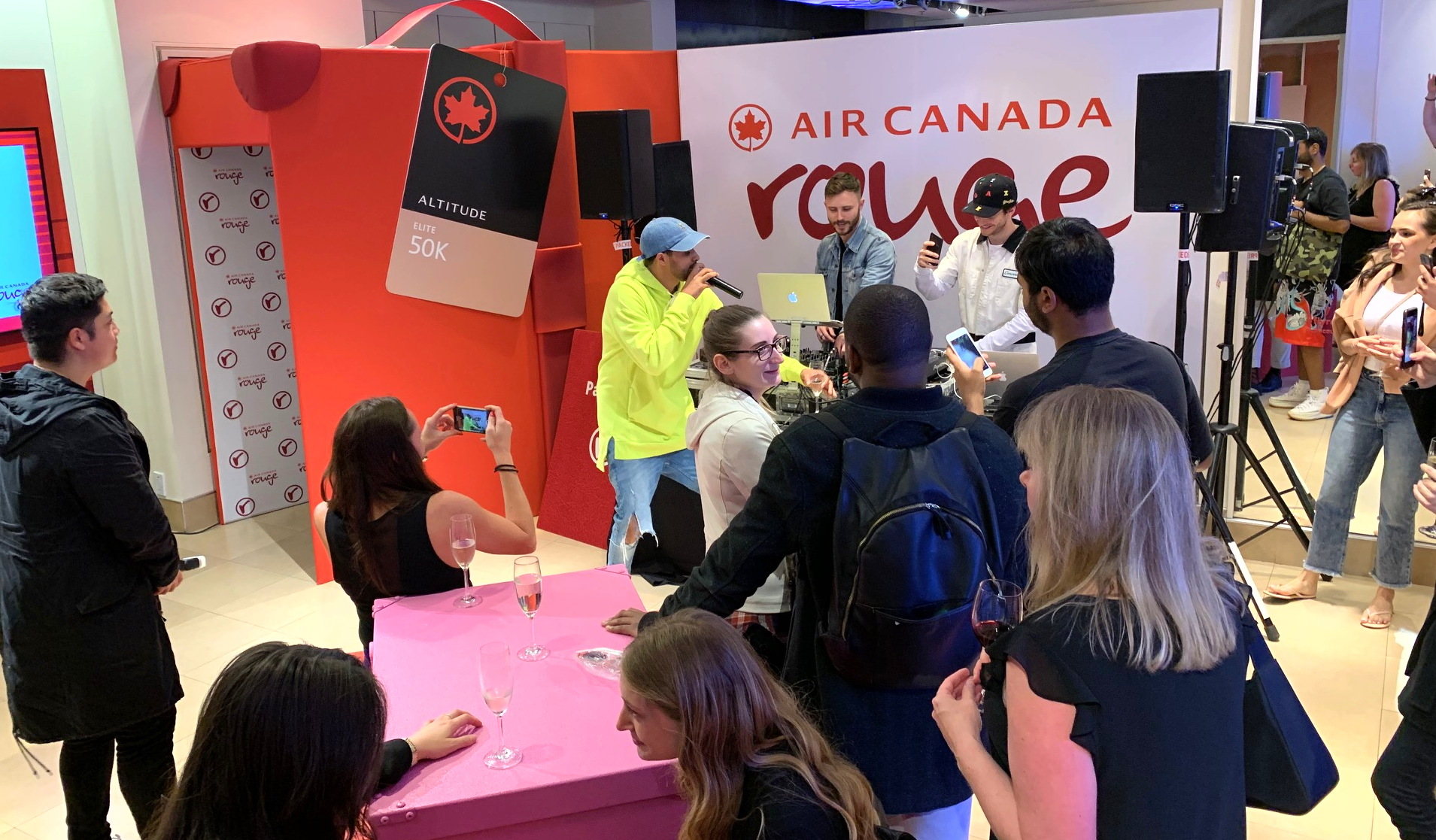 Inside Air Canada Rouge's pop-up experience, which opened today at Toronto's Eaton Centre mall.