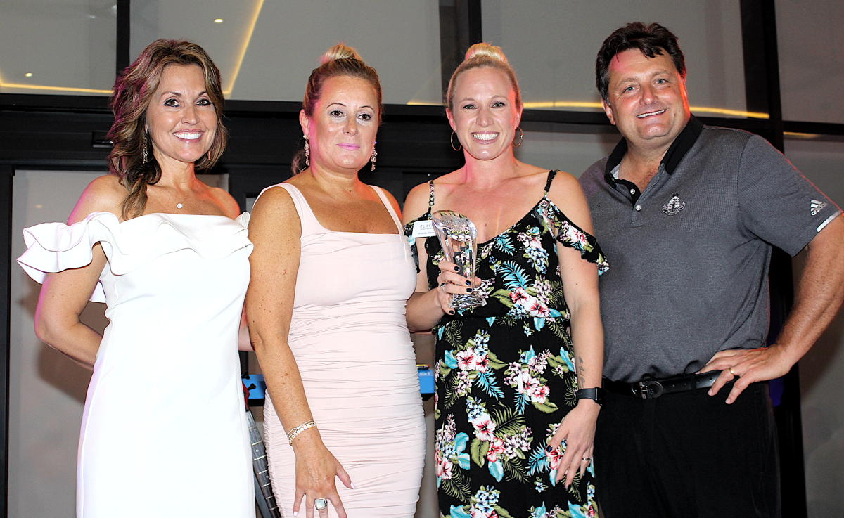 GO AMANDA! From left (of Playa Hotels & Resorts): Andrea Wright, director of sales, USA; Rose Cosentino, VP of sales for Canada; Amanda Morris, BDM, Ontario; Kevin Froemming, executive VP & CCO