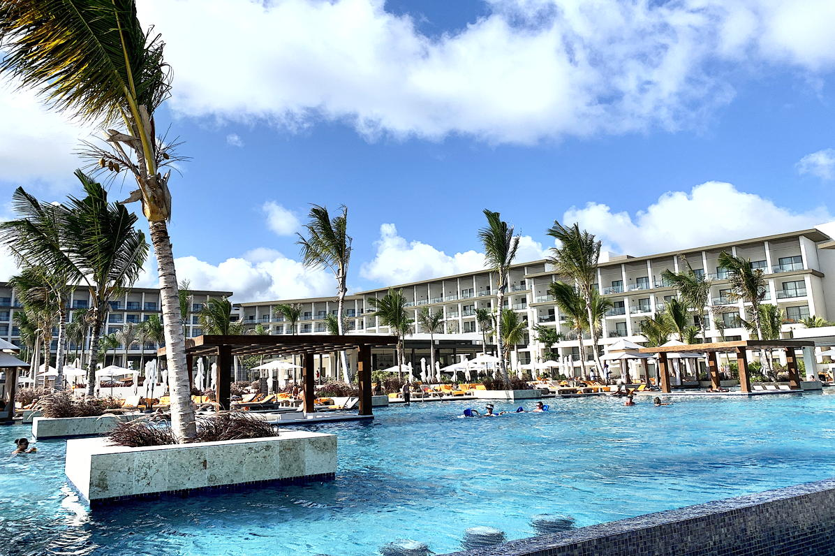 SWIM, ANYONE? Poolside at the new Hyatt Ziva-Zilara Cap Cana in the Dominican Republic.