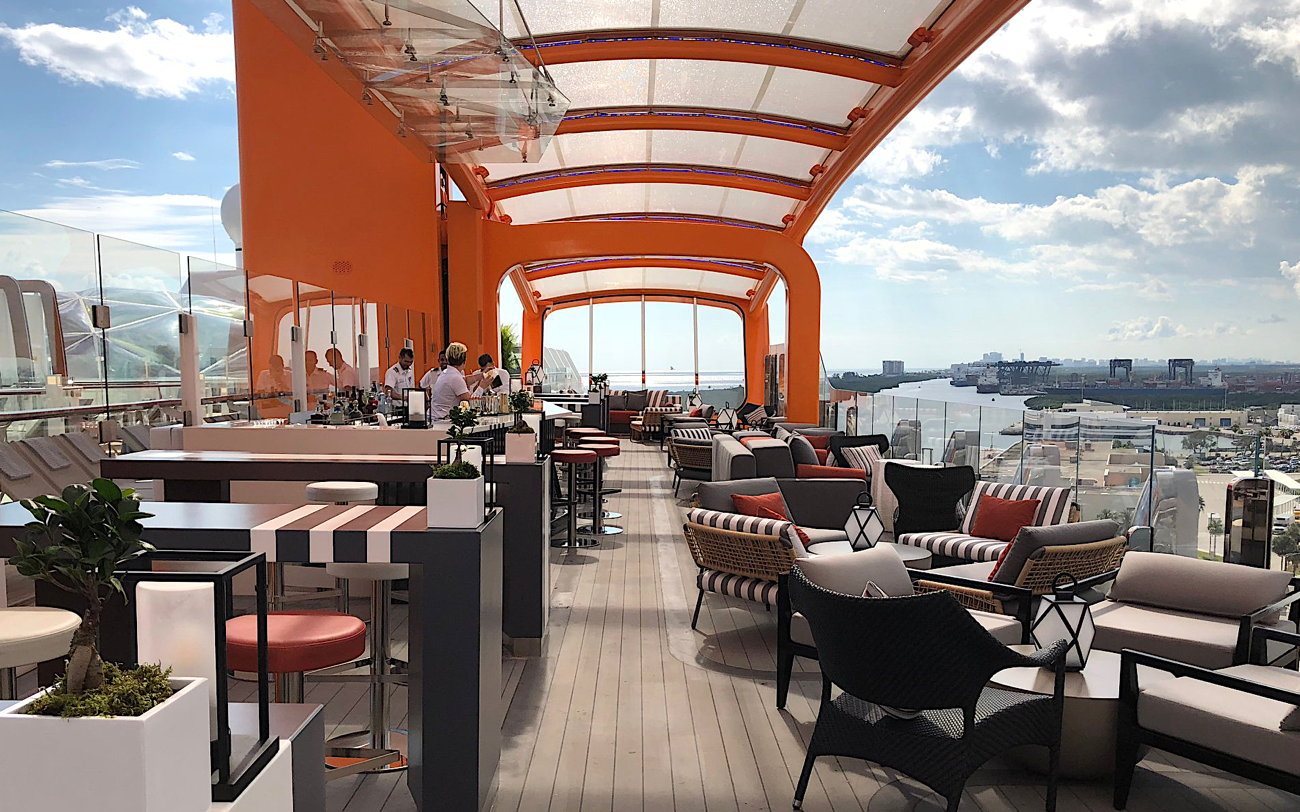 The Magic Carpet transforms levels into different venues on the side of the Celebrity Edge. Photo by Maxine Gundermann,