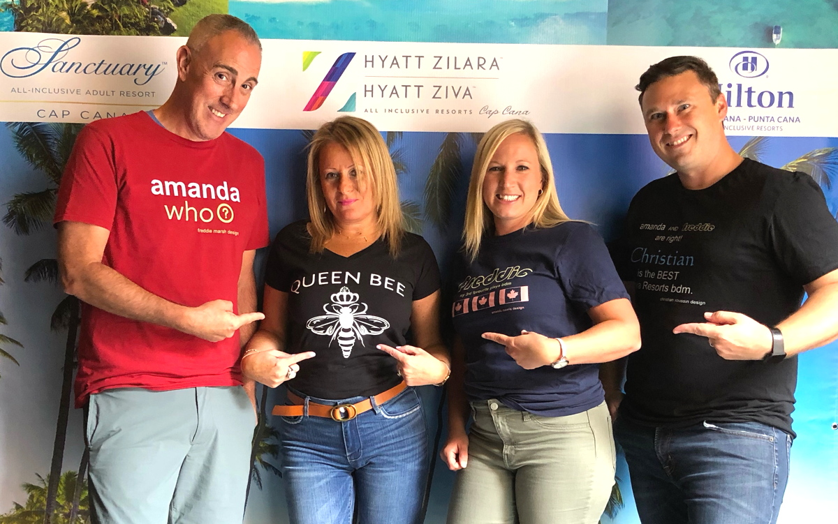 QUEEN BEE. Rose Cosentino, VP of sales for Canada at Playa Hotels and Resorts (centre) recently revealed a t-shirt of her own. (Supplied photo)