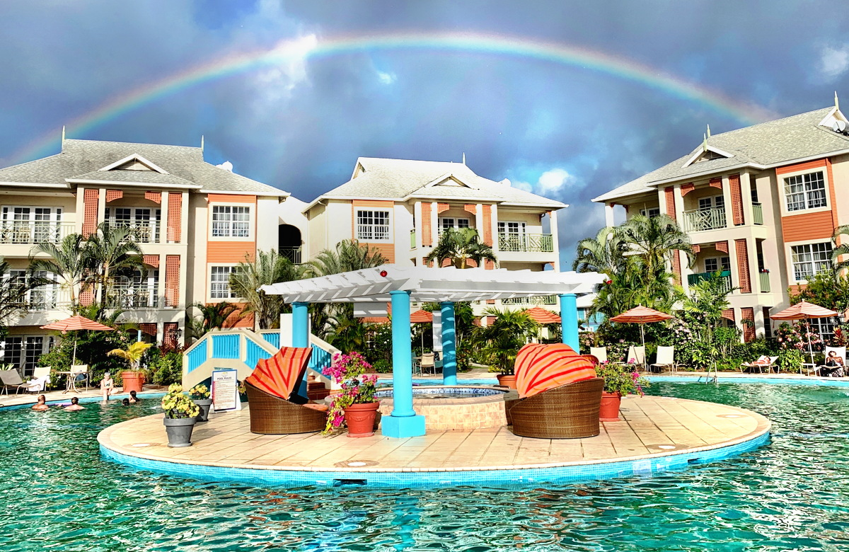 PAX was greeted by a striking rainbow, minutes after checking into Bay Gardens Beach Resort and Spa in Saint Lucia.
