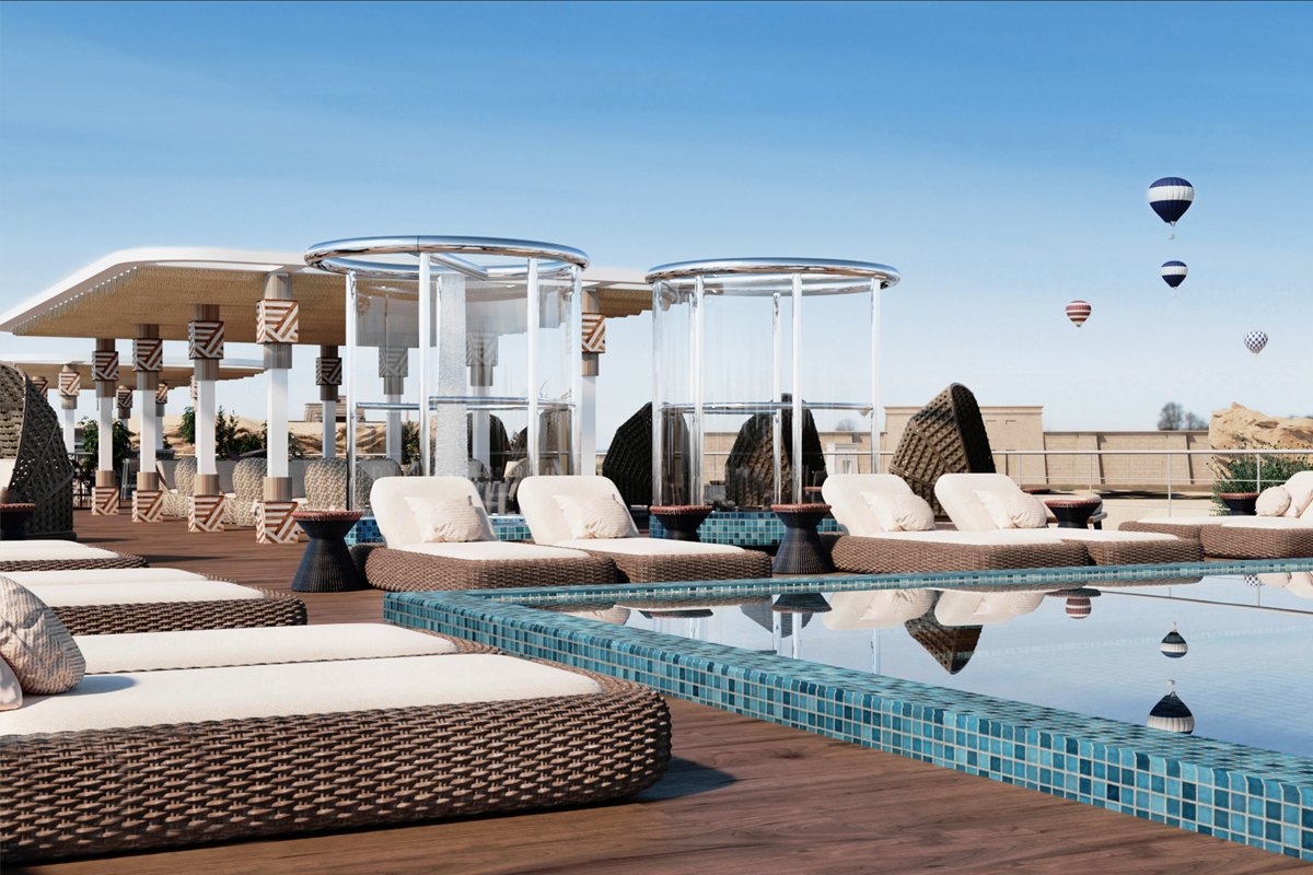The pool deck of the the AmaDhalia, a 68-passenger ship that transports guests down the Nile river for September 2021.