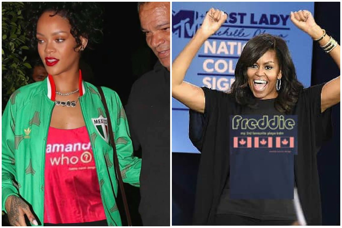 CELEBRITIES ARE IN ON IT. Pop singer Rihanna (left) and former First Lady Michelle Obama