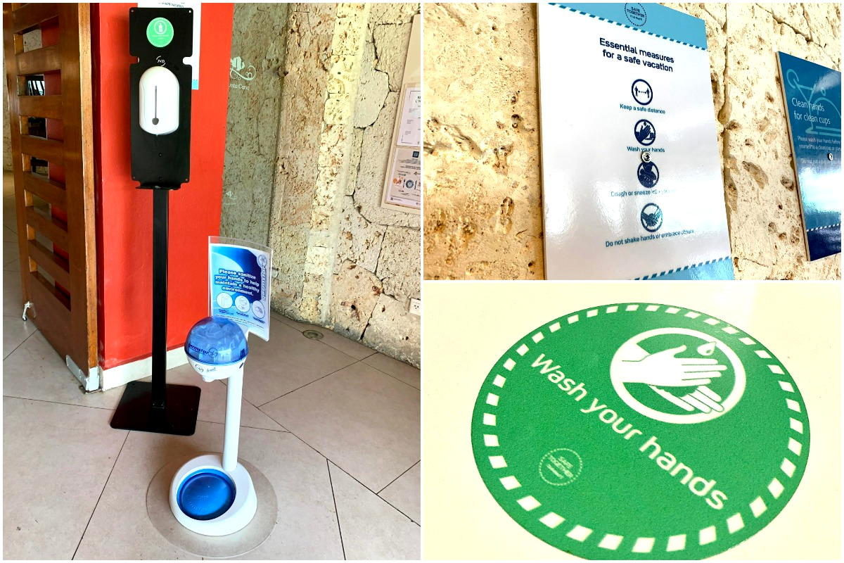Health & safety at Club Med Punta Cana: Hand sanitizing stations for adults & kids (left); signs/stickers promoting healthy hygiene (right).