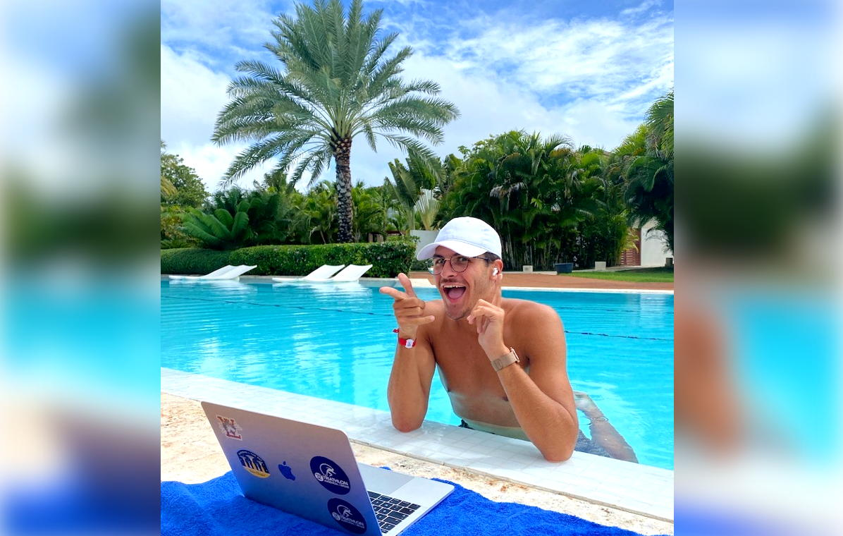 Martin, a business student from France, decided to do his classes, remotely, at Club Med Punta Cana. (Supplied)