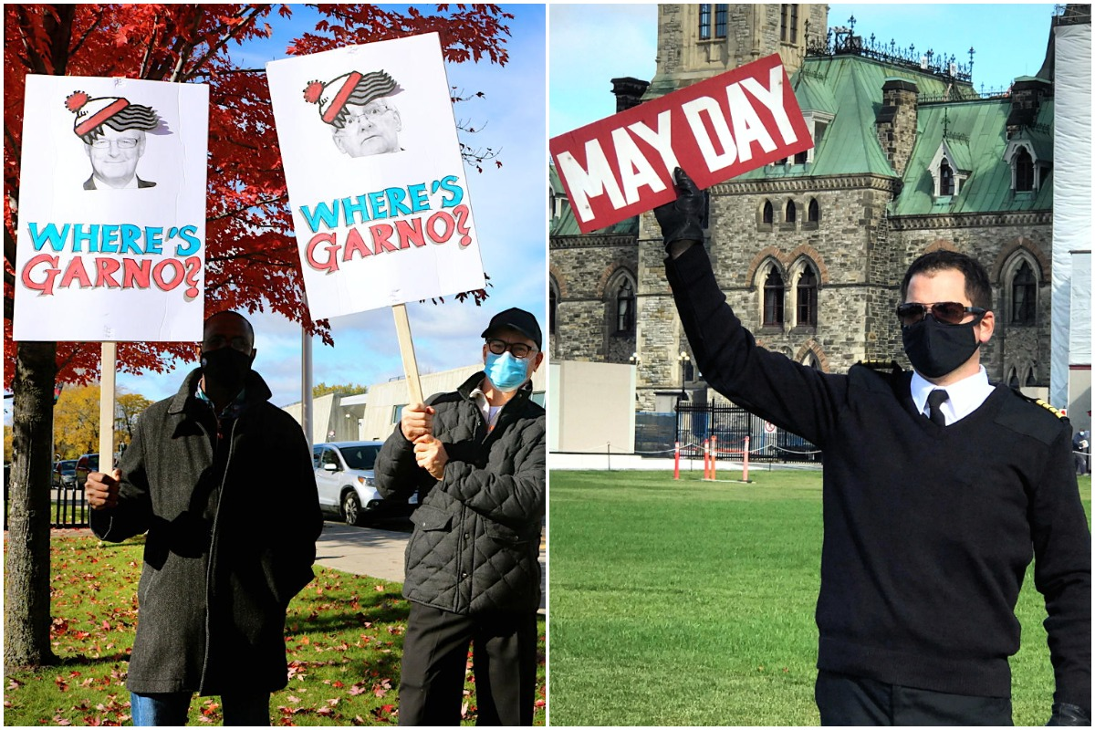 Aviation workers hold signs at the march to Save Canadian Aviation in Ottawa last fall. (Pax Global Media)