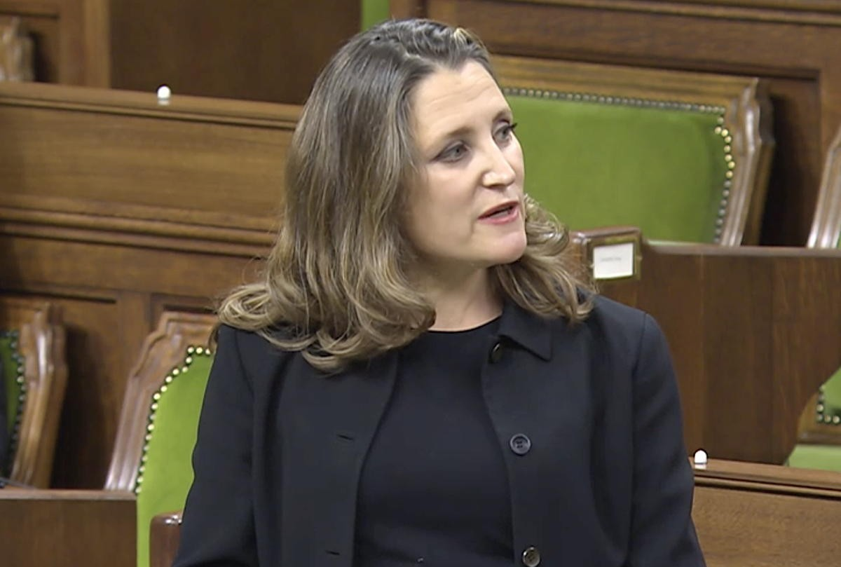 Deputy Prime Minister and Minister of Finance Chrystia Freeland. (File photo)