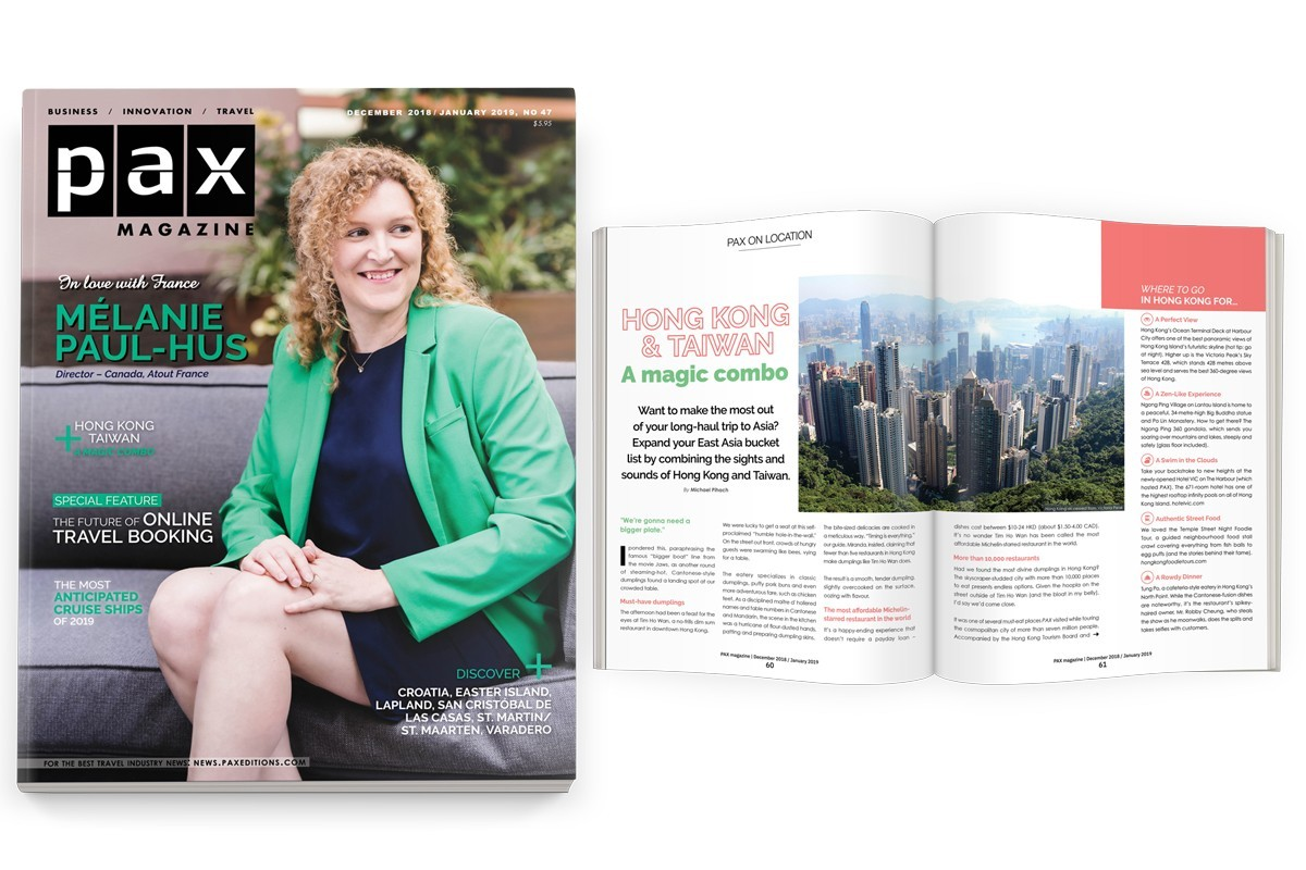 Atout France's Melanie Paul-Hus featured in the latest PAX magazine