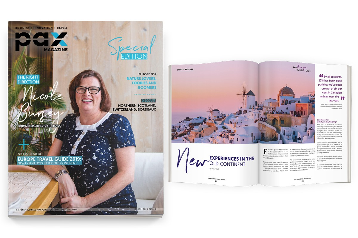 Transat's Nicole Bursey featured in PAX magazine's first-ever special Europe edition