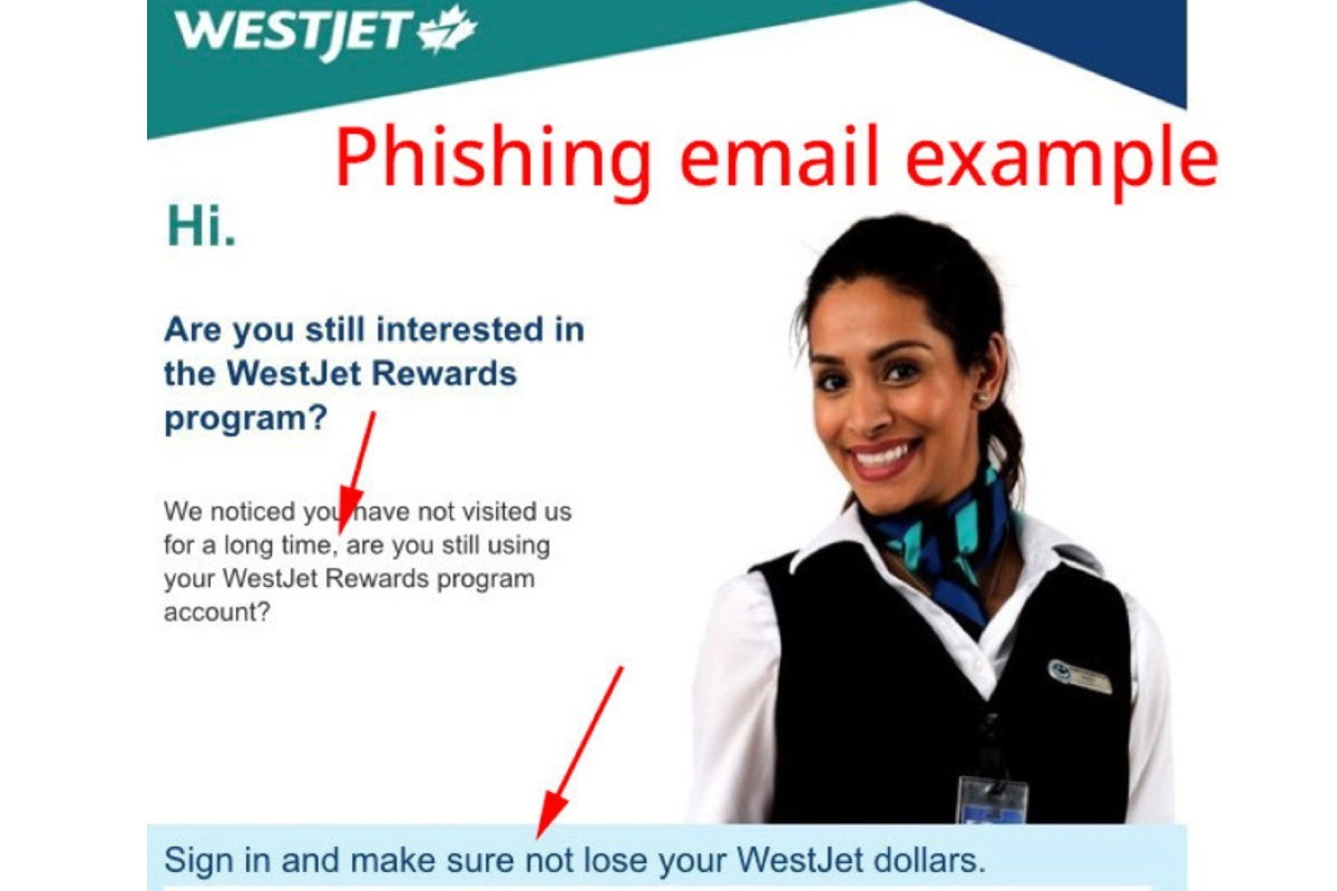 WestJet warns public of phishing email scam