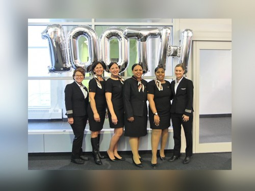 Sunwing's 100th all-female flight celebrates International Women's Day