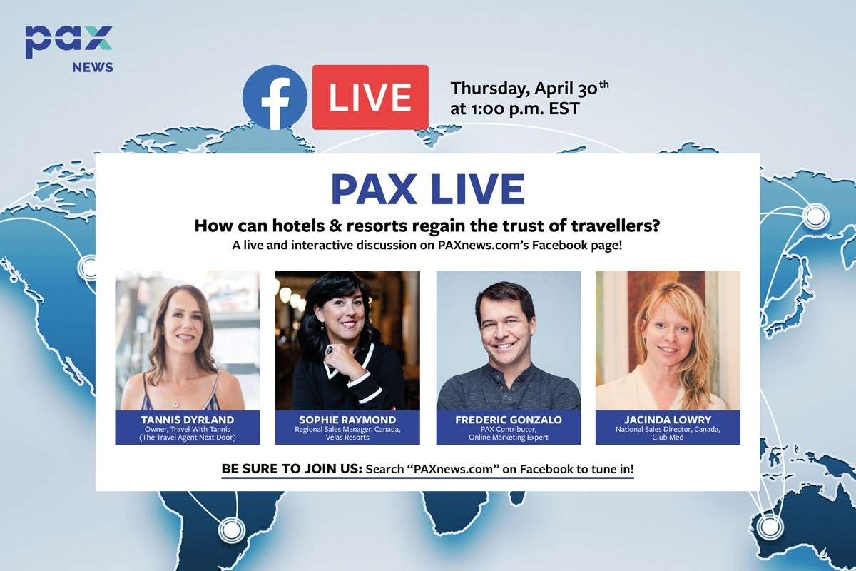 How can hotels & resorts regain the trust of travellers? FB Live today (April 30), 1 p.m. EST