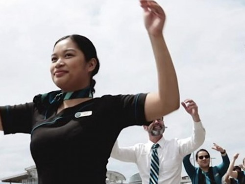 VIDEO: WestJetters stage high-energy flash mob at YVR