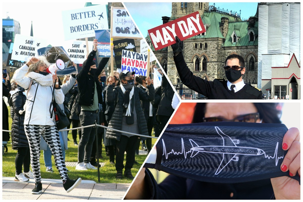 """""""Save Canadian aviation!"""" Airline & travel workers march in Ottawa; Cdn gov't says they'll do more to help Canada's airlines"""