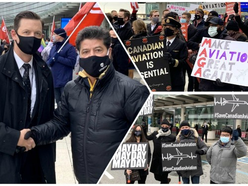 """We've had enough"": aviation workers rally at YYZ, aim anger at Ottawa for stalling on recovery plan"