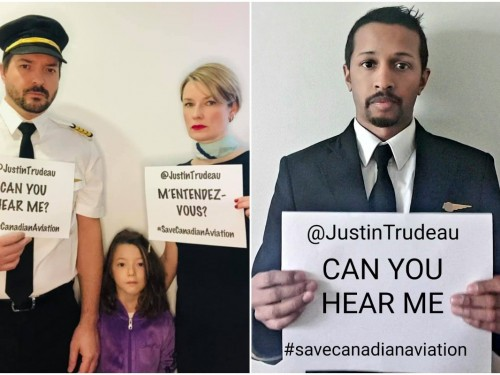 """Trudeau, """"Can you hear me?"""" Airline workers turn to social media to #SaveCanadianAviation"""