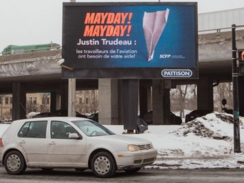 """Mayday! Mayday!"": Pilots release video to #SaveCanadianAviation; flight crew use billboards"