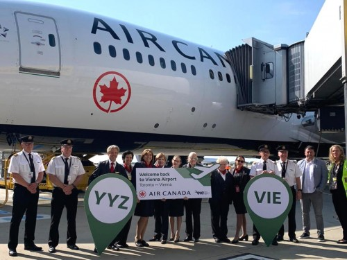 Vienna International Airport holds arrival ceremony to mark Air Canada's return
